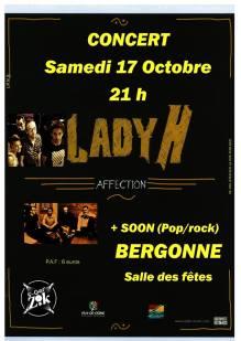 Affiche du concert Lady H + Soon à Bergonne