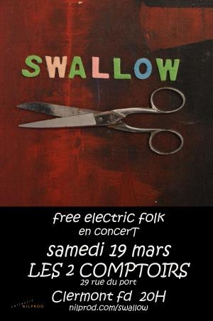 Affiche du concert de Swallow aux 2 comptoirs, clermont-ferrand
