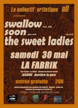 Affiche du concert du collectif NilProd avec les groupes Swallow, Soon et The Swet Ladies