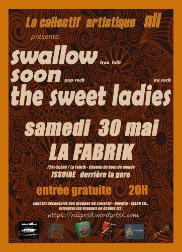 Affiche du concert du collectif NilProd avec les groupes Swallow, Soon et The Swet Ladies